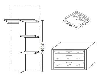 Loddenkemper Schlafzimmer Dakota Zusatzausstattungen Zubehör-Set 2