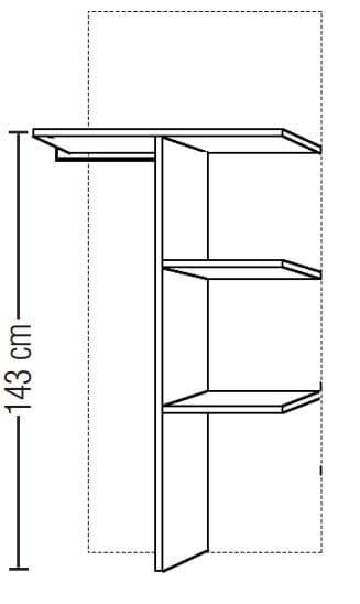 Loddenkemper Schlafzimmer Merano Zusatzausstattung für Drehtürenschränke Doppelfachunterteilung