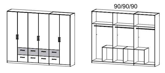 Rauch Packs Schlafzimmer Rasa Drehtürenschränke Schrank mit Kranzblende 07C3