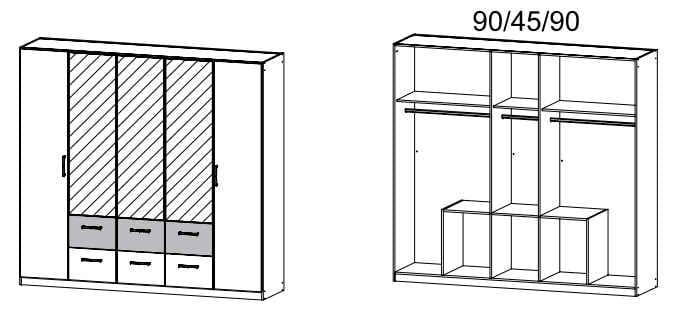 Rauch Packs Schlafzimmer Rasa Drehtürenschränke Schrank mit Kranzblende 07C5