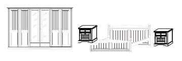 IMS - SchlafKONTOR Schlafzimmer Cinderella Premium Schlafen Kombination